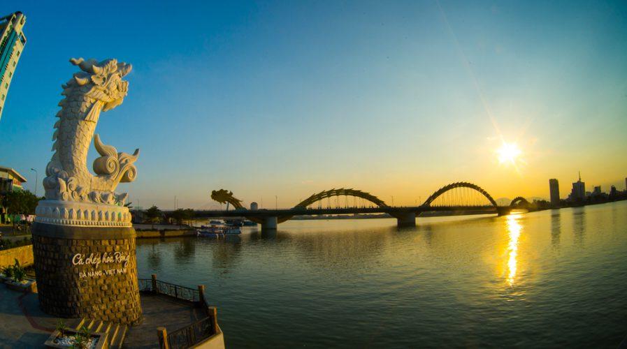 Dragon River Bridge ( Rong Bridge) in sunset in Da Nang, Vietnam