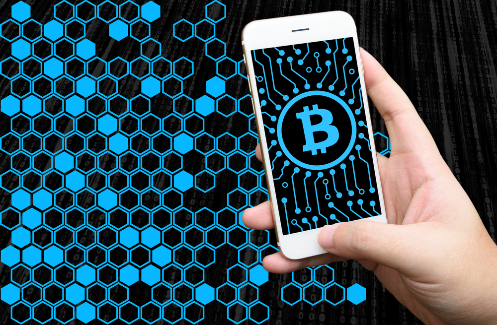 block chain text and blockchain icons with binary coded background , cryptocurrencies or bitcoin concept
