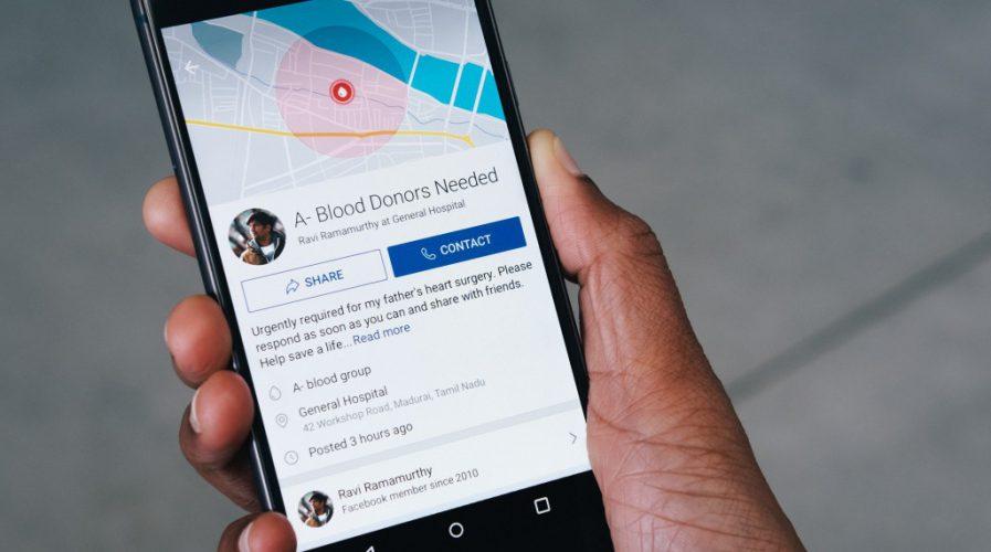 Facebook blood donation