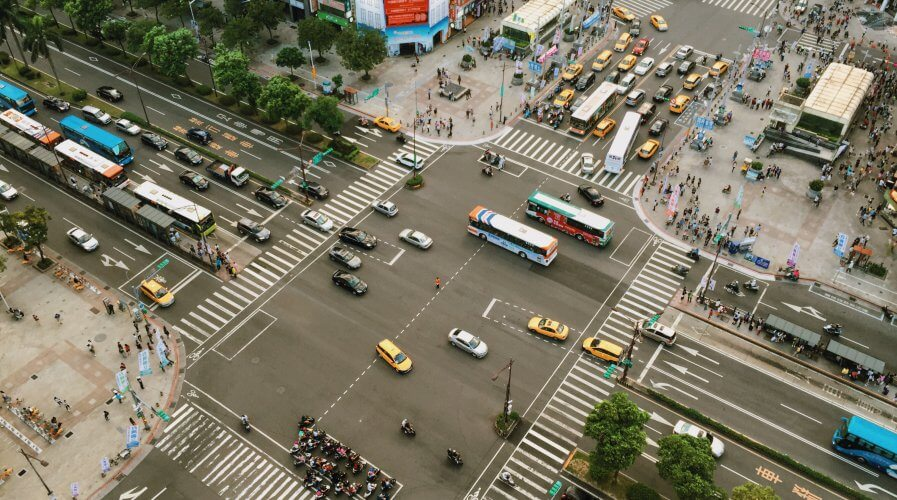 city new york aeriel view of traffic