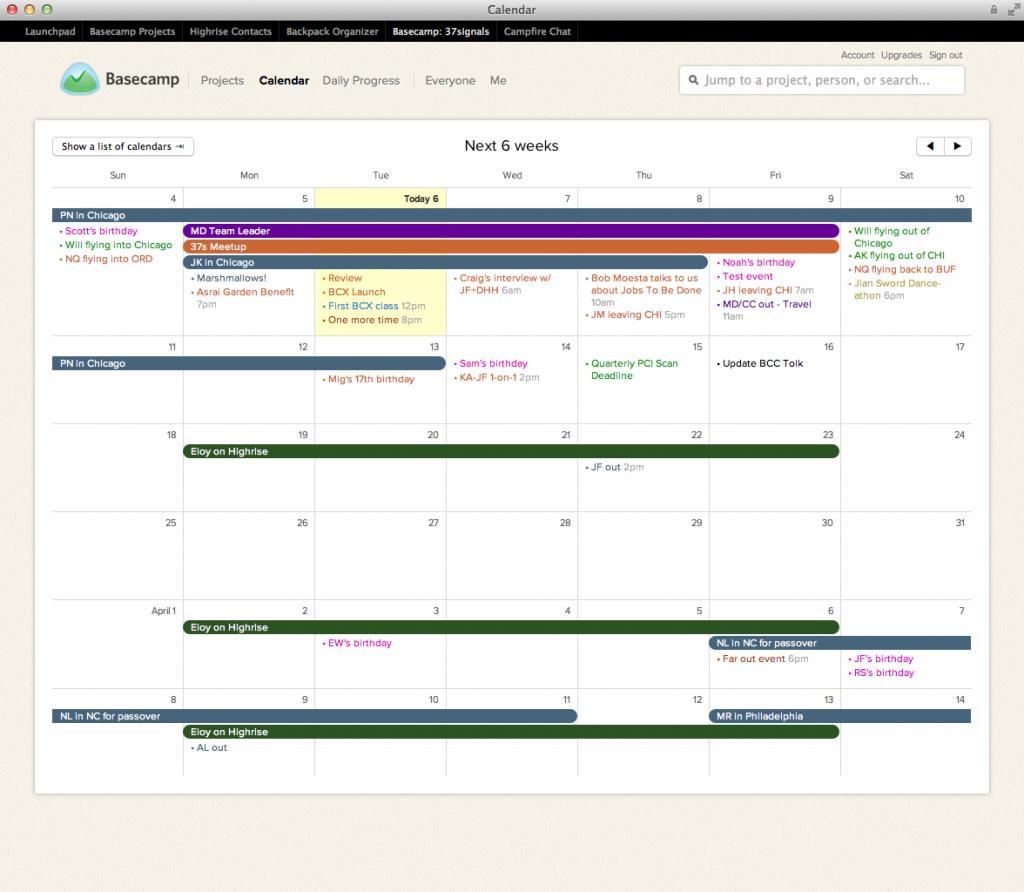 Calendar interface (Pic: Basecamp)