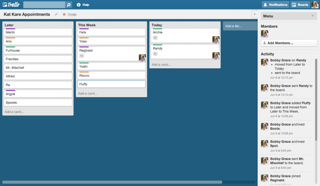 Trello's boards and cards are like the real thing, which you can drag and move around. Pic: Trello