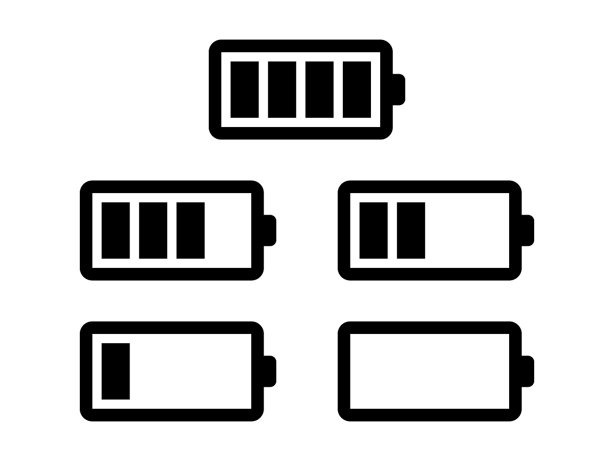 Battery usage or charge status line art icon set for apps and electronic devices
