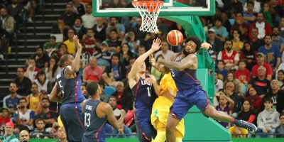 Team United States in action during group A basketball match between Team USA and Australia of the Rio 2016 Olympic Games
