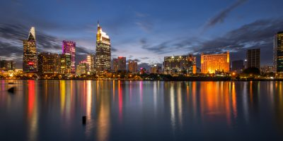 Downtown Saigon in sunset ,Ho Chi Minh city