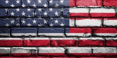 us flag brick wall
