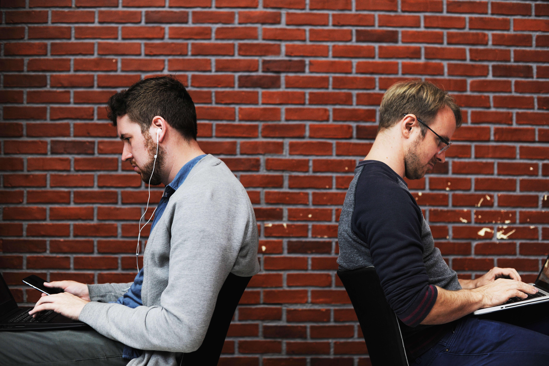 People laptops looking away