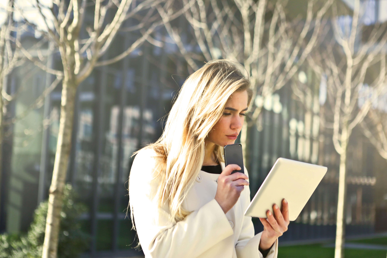 woman road surprised tech tablet mobile