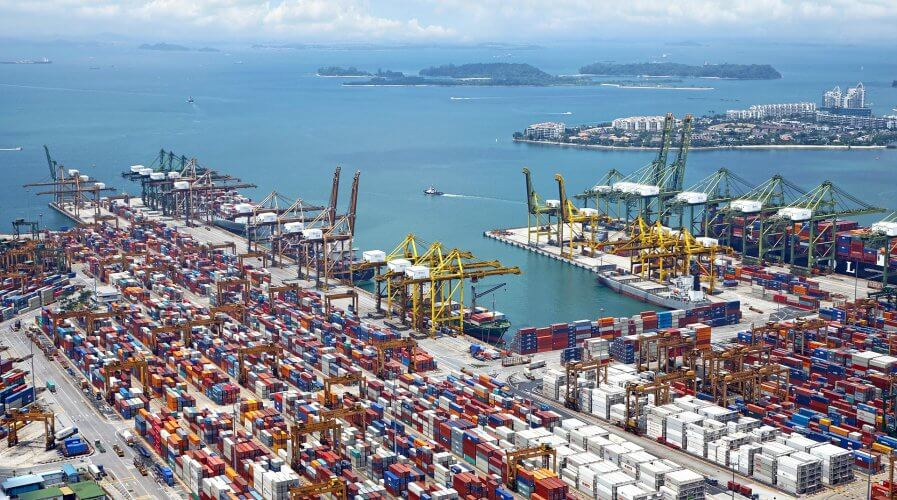 A shipping port with containers