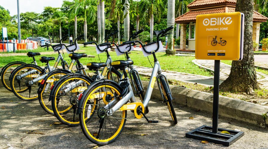a fleet of obike in a designated parking area