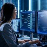 a women monitoring security screen