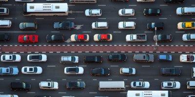 a bird's eye view of a traffic jam