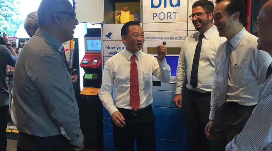 A file photo of blu's launch event in Singapore featuring the locker system bluPort