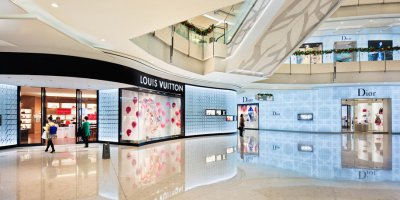 luxury brands in a shopping mall in shanghai