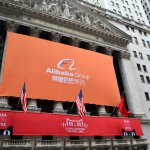 Alibaba's signpost out front on Wall Street on Singles' Day in 2015. Source: Shutterstock