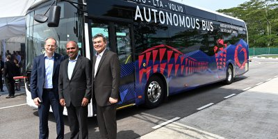 Nanyang Technological University, Volvo Buses, and Land Transport Authority launch world's first full-size autonomous bus in Singapore. Source: AFP