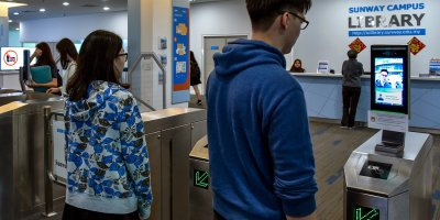 The use of facial recognition will replace smart card access to authenticating students' identities for library access. Source: Sunway Education Group