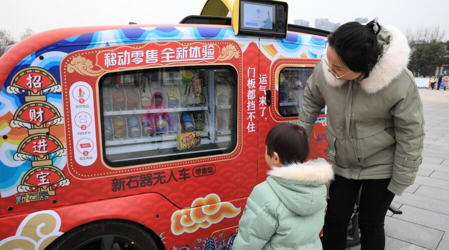 A driverless vehicles in China amuses park goers. Source: Shutterstock.