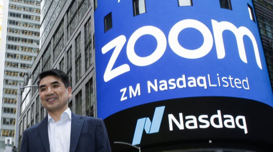 Zoom founder Eric Yuan at the Nasdaq opening bell ceremony in 2019. Source: AFP.