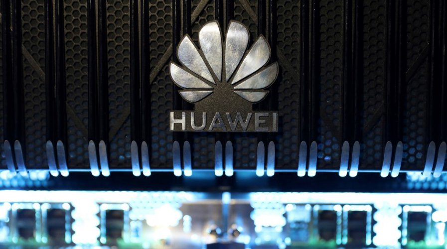 A logo is pictured on a Huawei NetEngine 8000 Intelligent Metro Router during a 5G event in London, 2020