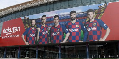 A picture shows the empty entrance to the Camp Nou stadium in Barcelona. Source: AFP
