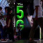 An ad for 5G at a train station in Bangkok on May 5, 2020.
