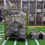 A robot carrying disassembled parts at a Panasonic recycling factory in Inashiki, Japan.