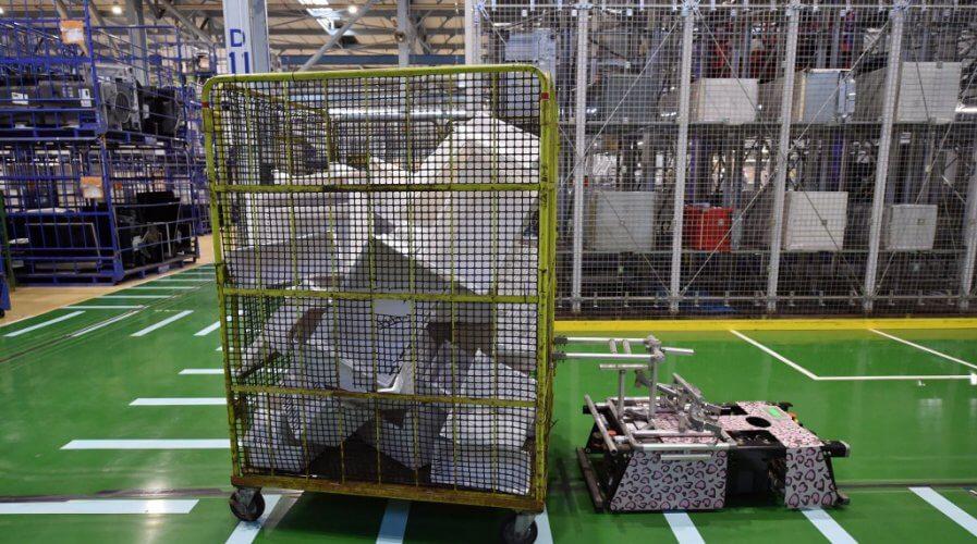 A robot carrying disassembled parts at a Panasonic recycling factory in Inashiki, Japan.