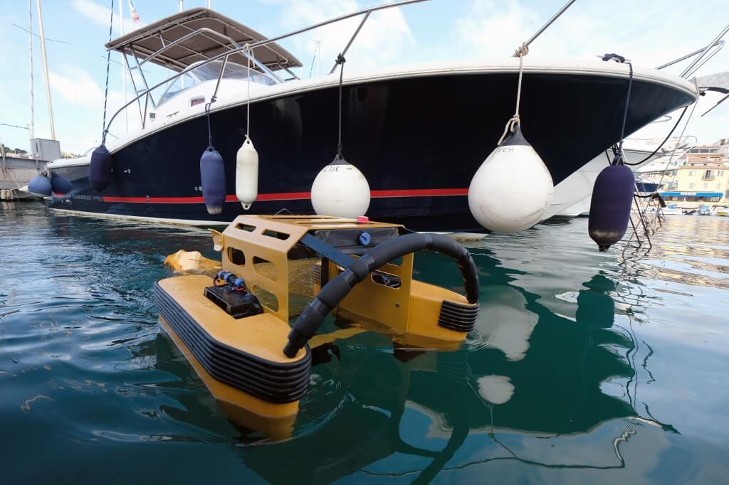 A 'Jellyfishbot' collects floating waste in the harbour of Cassis