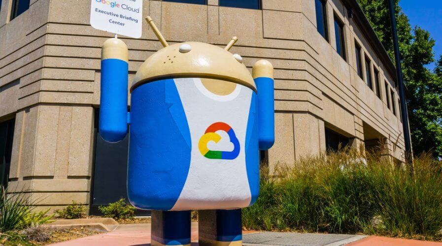 The Google Cloud logo on the Android robot statue outside a Google campus