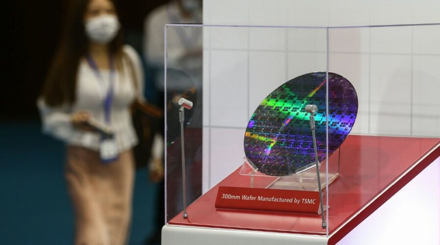 A chip by Taiwan Semiconductor Manufacturing Company (TSMC) at the 2020 World Semiconductor Conference in Nanjing, China