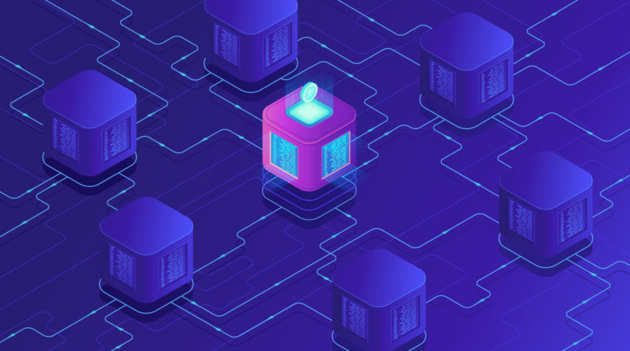 Isometric blockchain technology concept