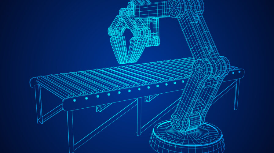 Robotic arm manufacture technology industry assembly mechanic hand and regular empty roller conveyor section wireframe low poly mesh vector illustration