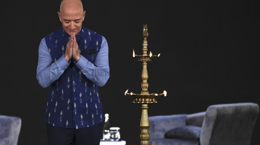 Amazon CEO Jeff Bezos in India, where Amazon is making a big play in the Indian fintech scene