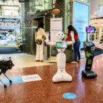 Powered by Huawei Thailand infrastructure, 5G robots welcome visitors to a shopping mall in Bangkok , as sectors of the economy reopen
