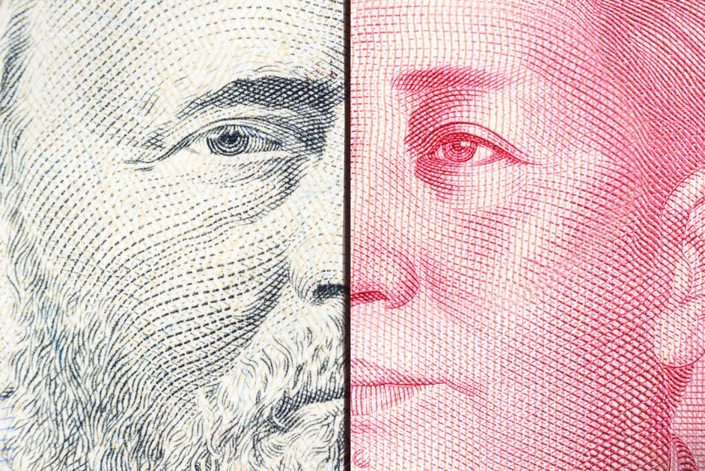 Protectionism, trade war or tariff war, Washington vs Beijing, financial concept : US dollar and Chinese yuan with two presidents confront each other, depicts retaliation on imports and exports tariff