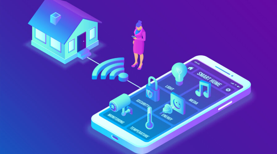 Smart home system concept. 3D isometric remote house control system. IOT concept. Smart home connection and control with devices through home network. Internet of things. Vector illustration.