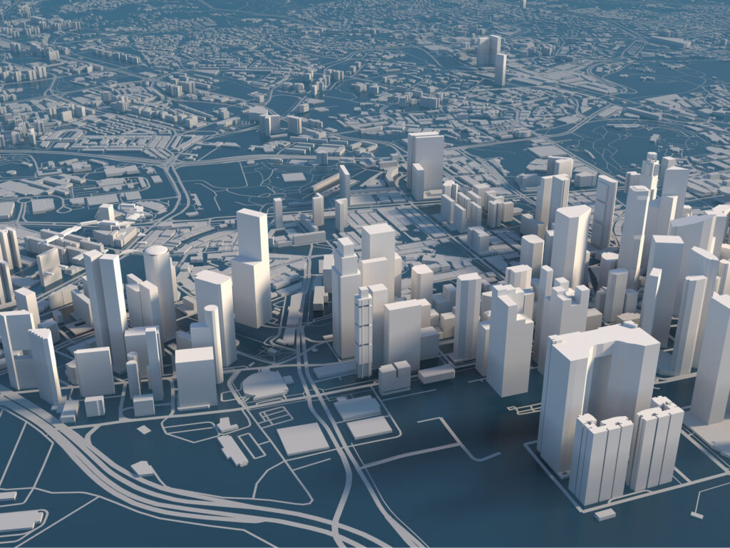 Stylized graphics city of Singapore, 3D render