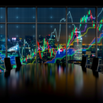 Forex graph and an amazing night view of the business city area. A metaphor of international financial consulting.