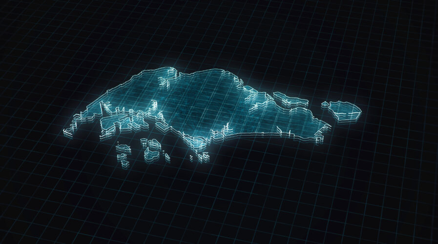 Abstract futuristic concept 3d illustration map background of Singapore