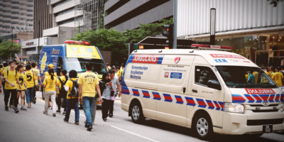 Ambulance at the Malaysia rally organized by BERSIH, the coalition for clean and fair election in Jalan Ampang, Kuala Lumpur, Malaysia.