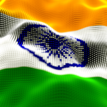 Abstract glowing particle wavy surface with India flag texture. 3D illustration
