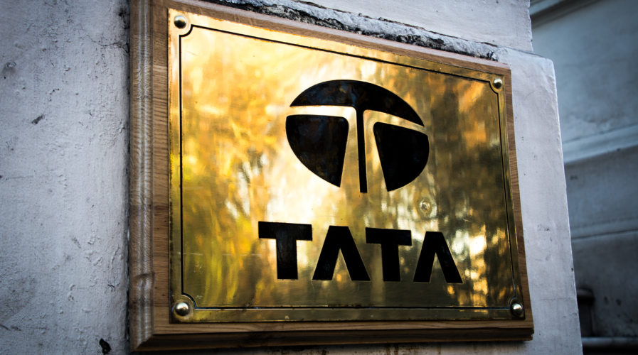 Tata Group logo on London office. Multinational Indian steel, communications and manufacturing company