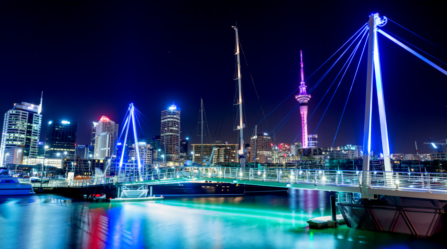 Auckland City and Sky Tower at Night, Auckland, New Zealand