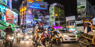 Rush hour on October 31, 2016 in Saigon, Vietnam