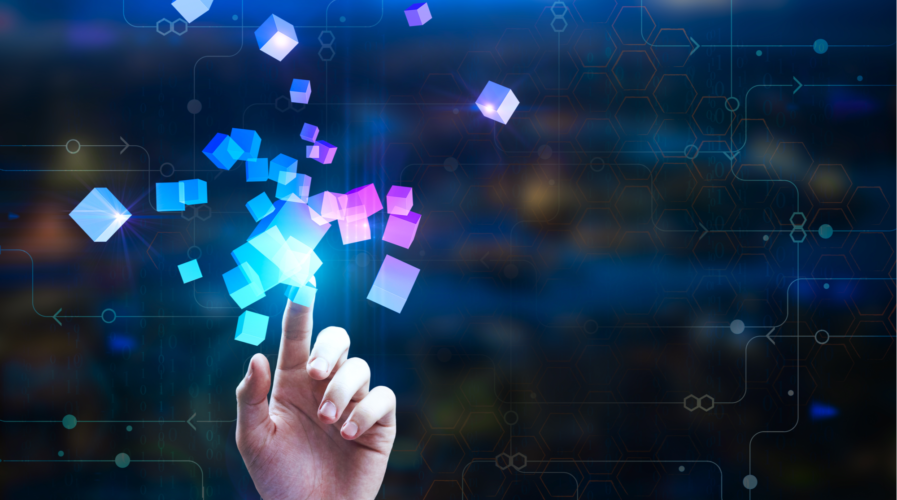 Female hand pointing at abstract glowing cubes on blurry circuit background. Innovation and creativity concept. Double exposure