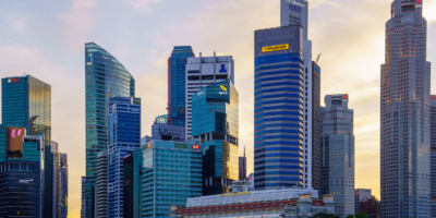 Singapore's financial district & Fullerton Hotel at sunset.
