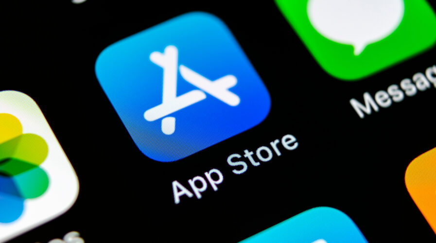Apple store application icon on Apple iPhone X smartphone screen close-up. Mobile application icon of app store. Social network. AppStore