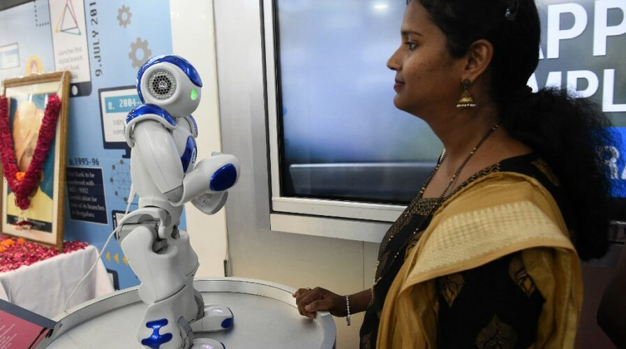 "Talking robot ""Bro"" at a digital banking branch of Canara Bank in New Delhi, India"