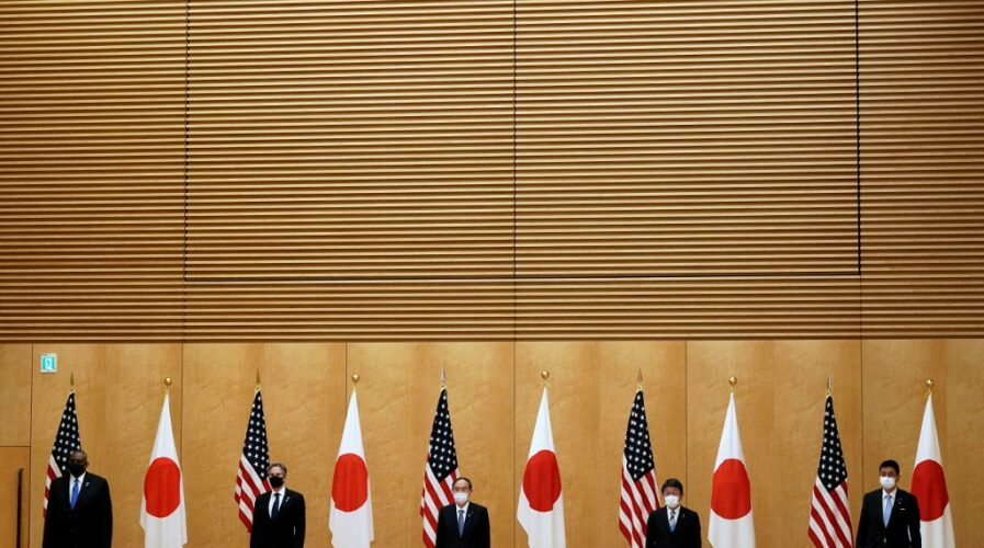 US President received Japan's prime minister for his first in-person summit, and was expected to announce a US$2 billion 5G initiative to compete with China